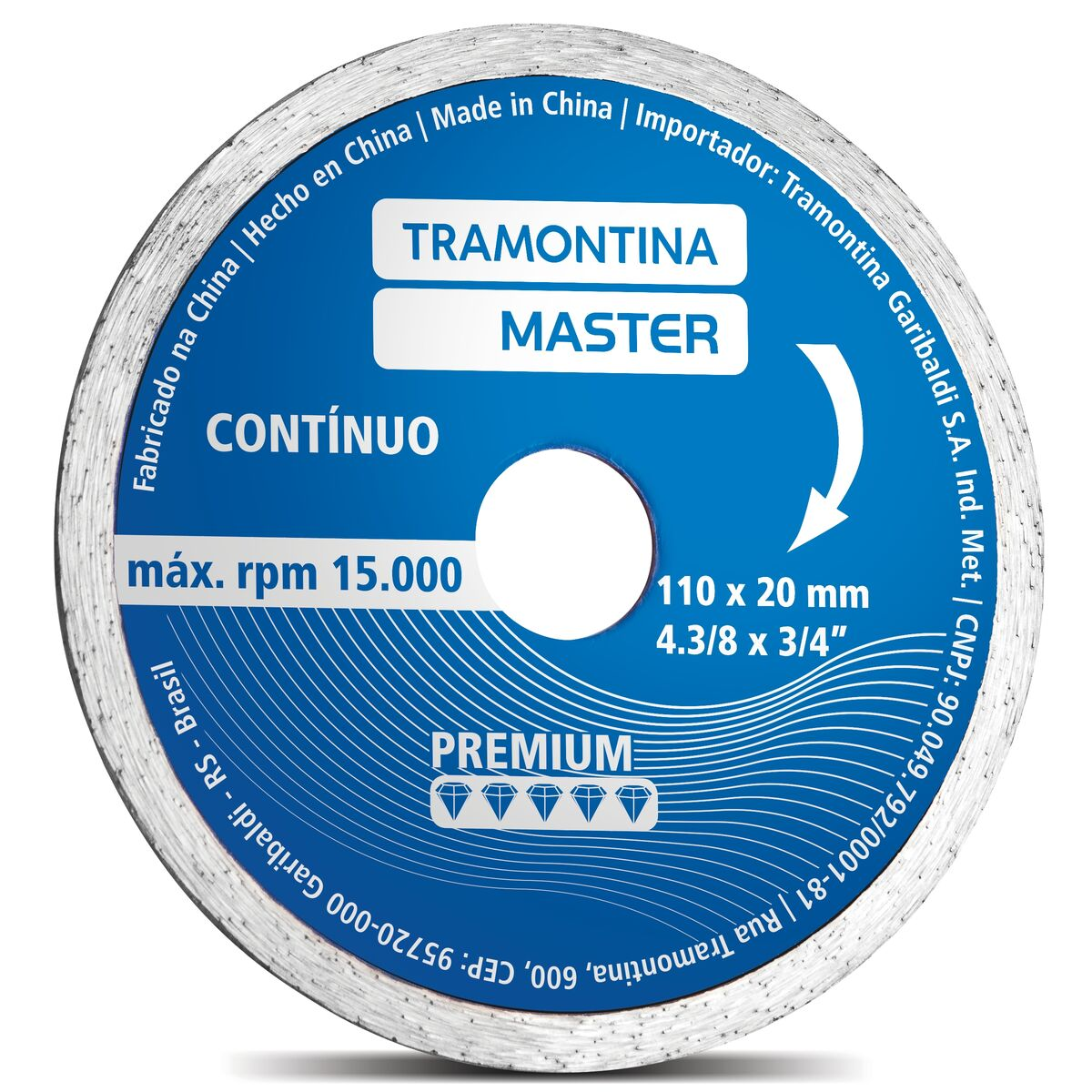 "Disco Diamantado Contínuo 4.3/8"" Modelo Premium"