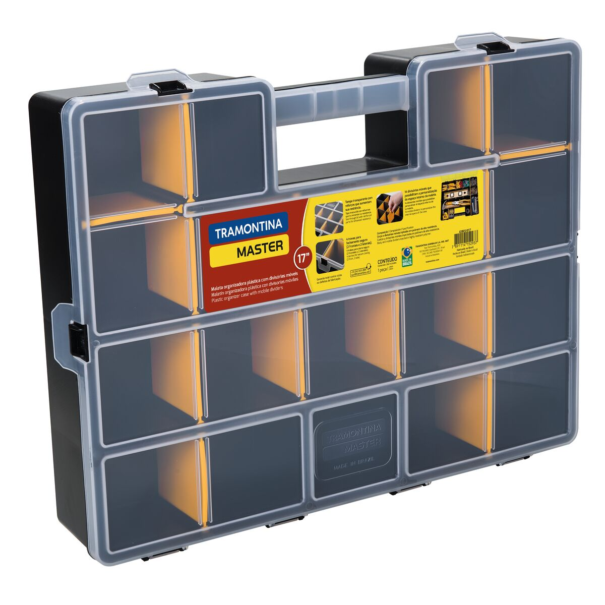 """17"""" plastic organizer case with mobile dividers"""