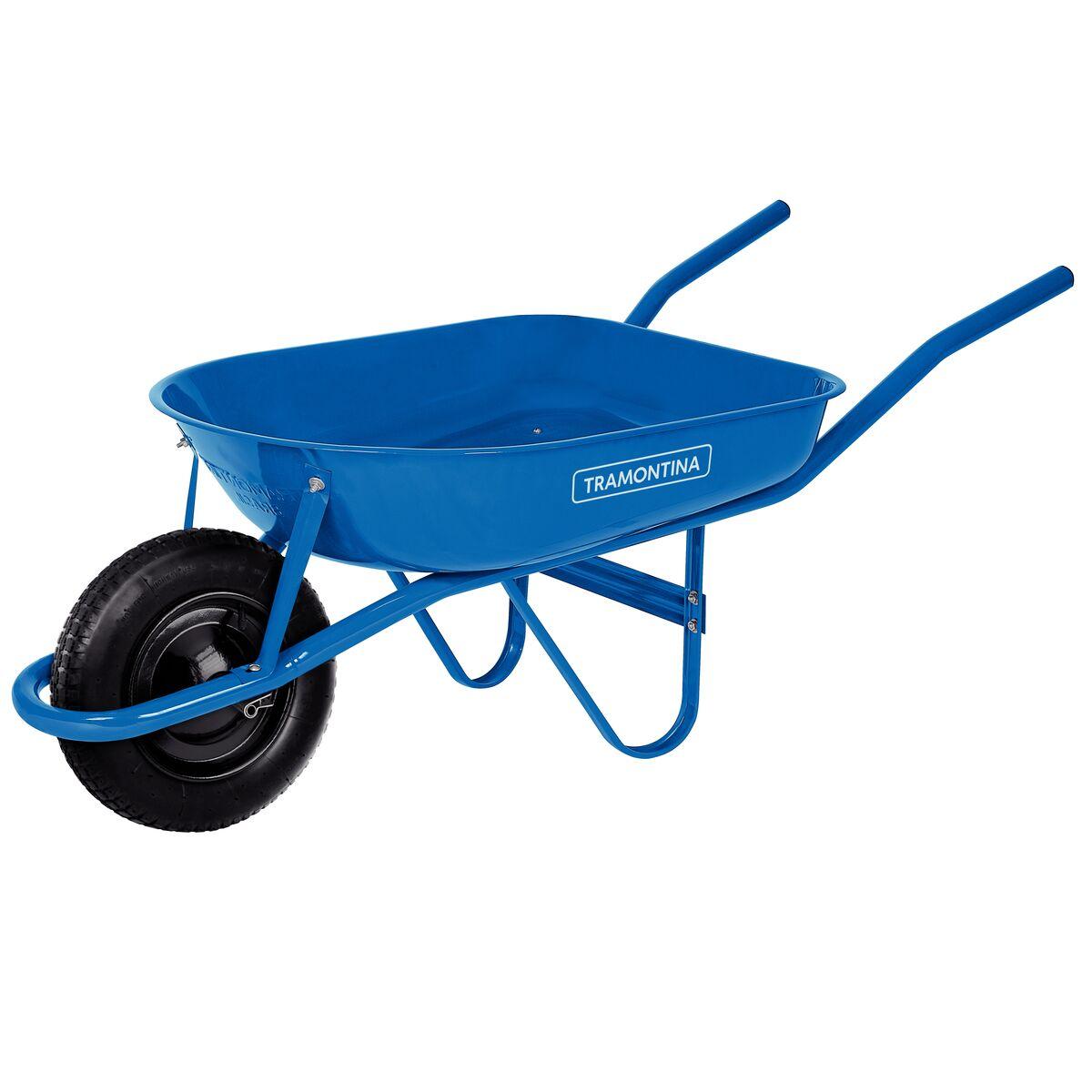 Carretilla de Mano Tramontina con Caja Rasa Metálica Azul 50 L, Brazo Metálico e Llanta con Cámara