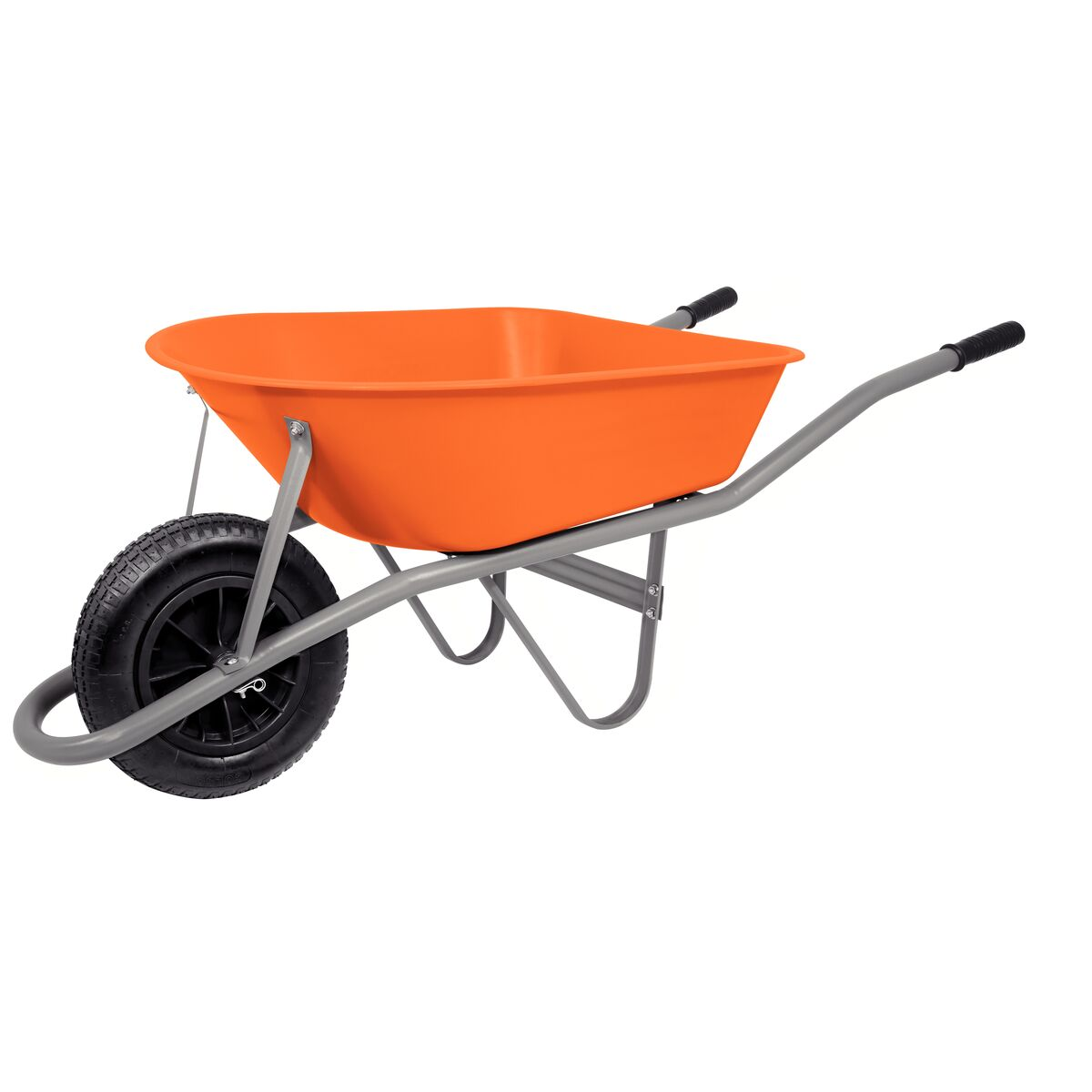 Carretilla de Mano Tramontina con Caja Honda Plástica Naranja 55 L, Brazo Metálico e Llanta con Cámara