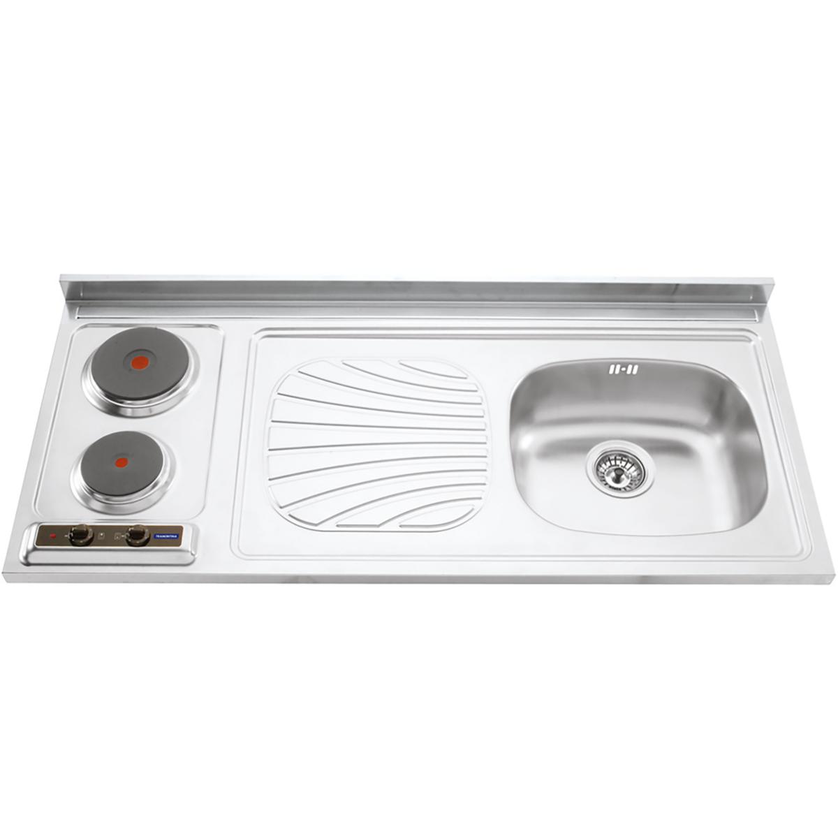 Tramontina - fregaderos + cocina en acero inoxidable 120 x 55 cm