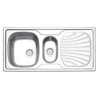 Tramontina 100 x 50 cm stainless steel single inset sink with extra half-bowl, pre-polished finish, valve and drainer