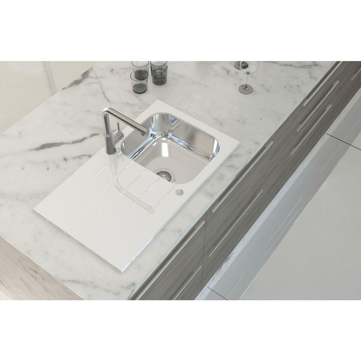 Tramontina - Fregadero de empotrar Tramontina de acero inoxidable y vidrio  templado blanco 312c06b543bf