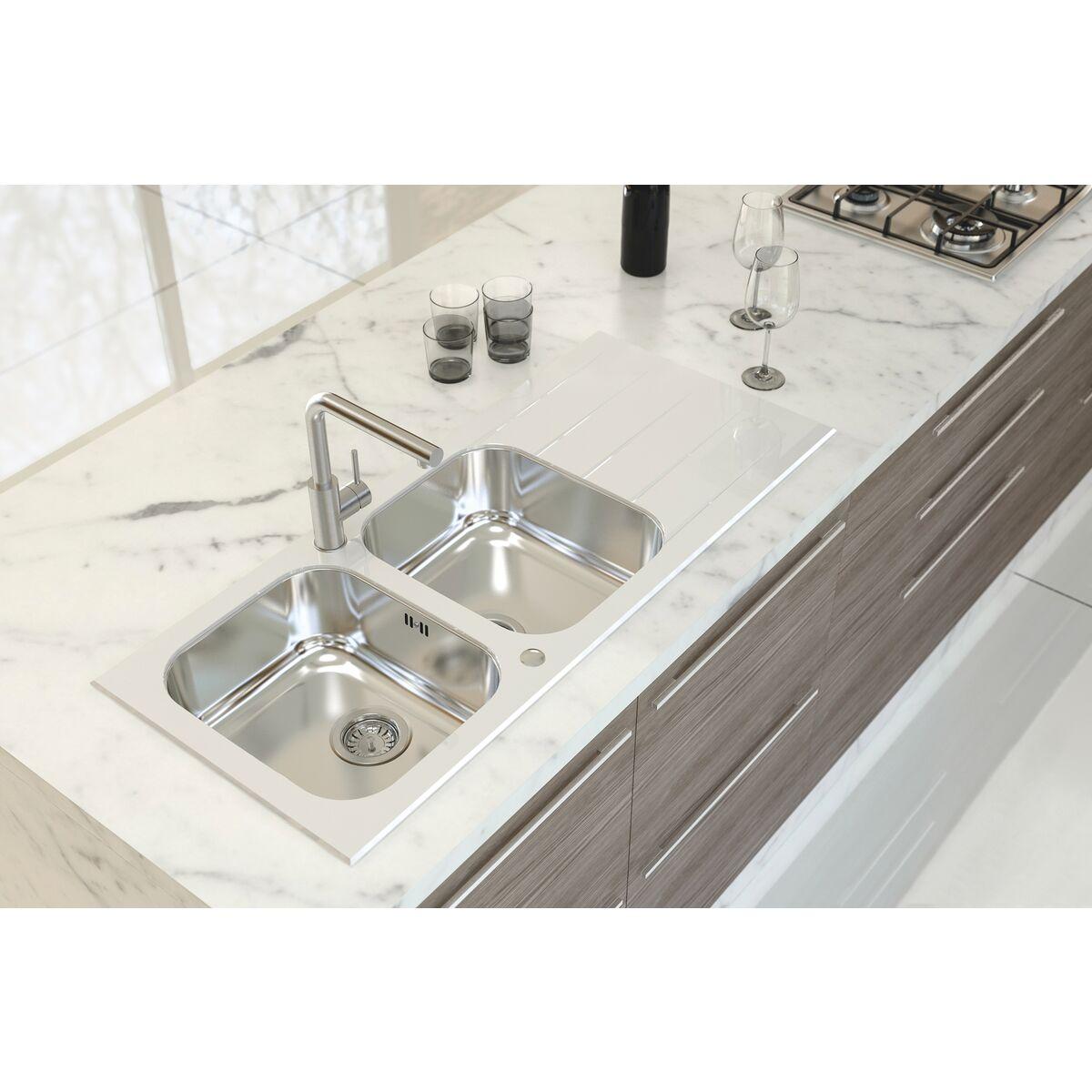 Fregadero de empotrar Tramontina 2 cubetas de acero inoxidable y vidrio  templado blanco c5acd34d4434