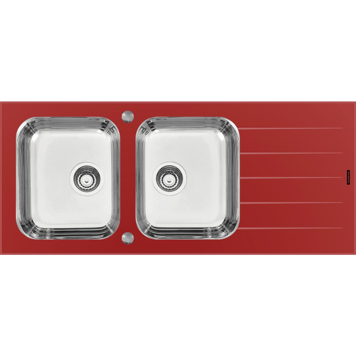 Tramontina - Fregadero de empotrar Tramontina 2 cubetas de acero inoxidable  y vidrio templado rojo 829d23b92d69