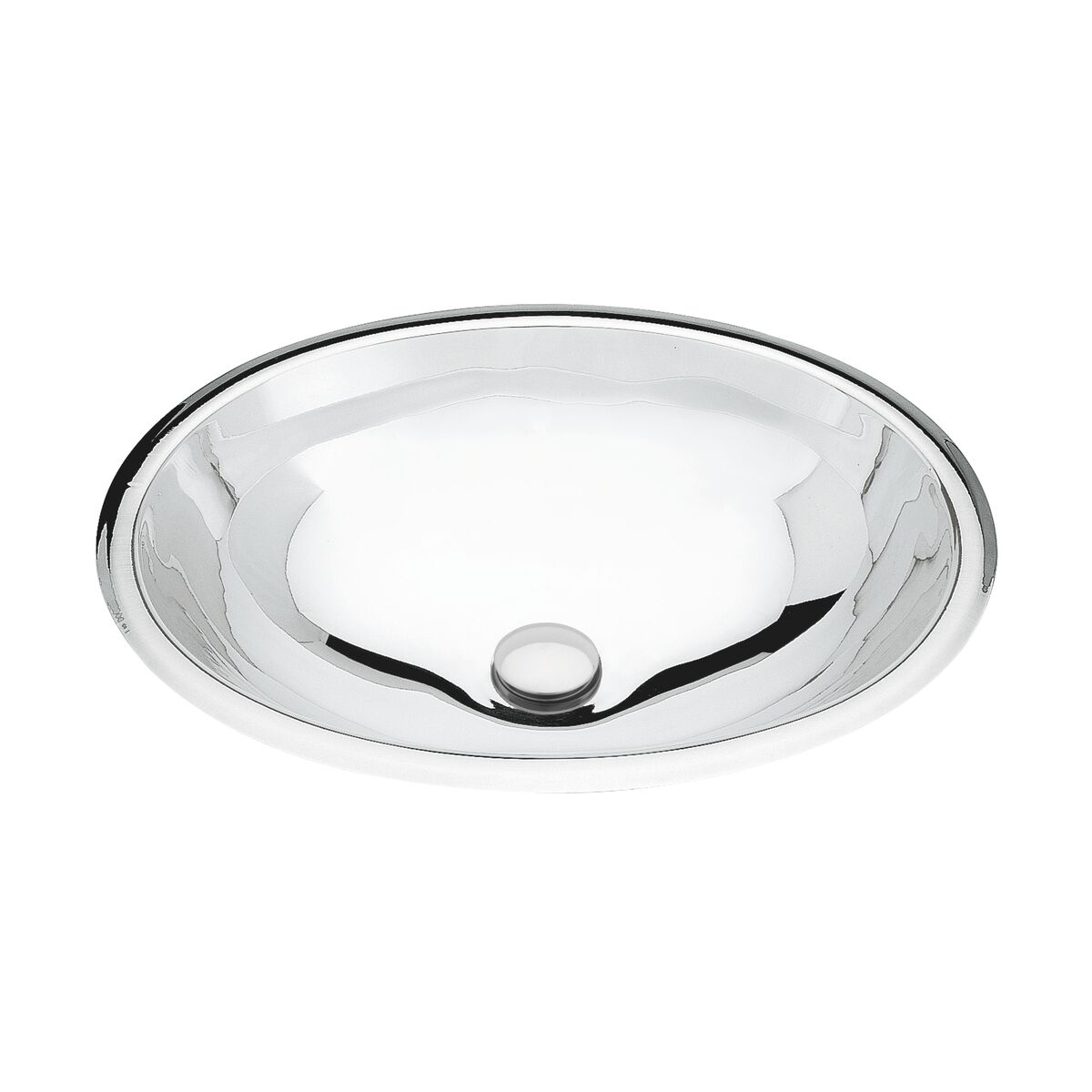Lavabo sobrepuesto ovalado de Tramontina en acero inoxidable con acabado de alto brillo 36 x 26 cm