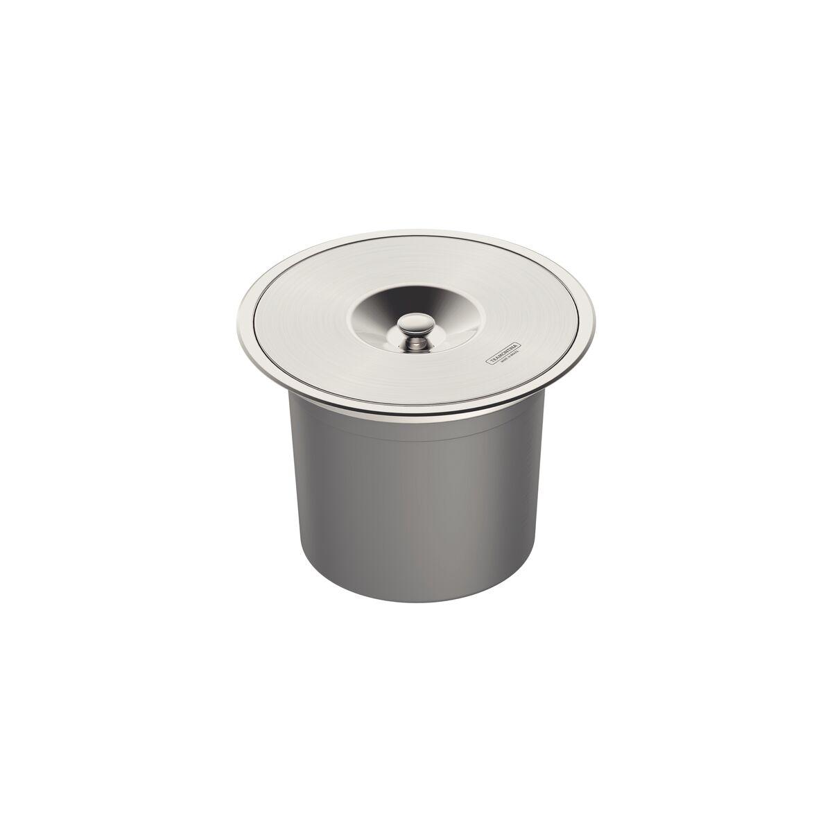 Basurero de empotrar Tramontina de acero inoxidable con balde plástico de 8 l