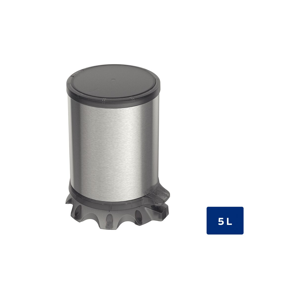 Tramontina Sofie stainless steel pedal trash can with Scotch Brite finish and transparent black plastic detailing, 5 L
