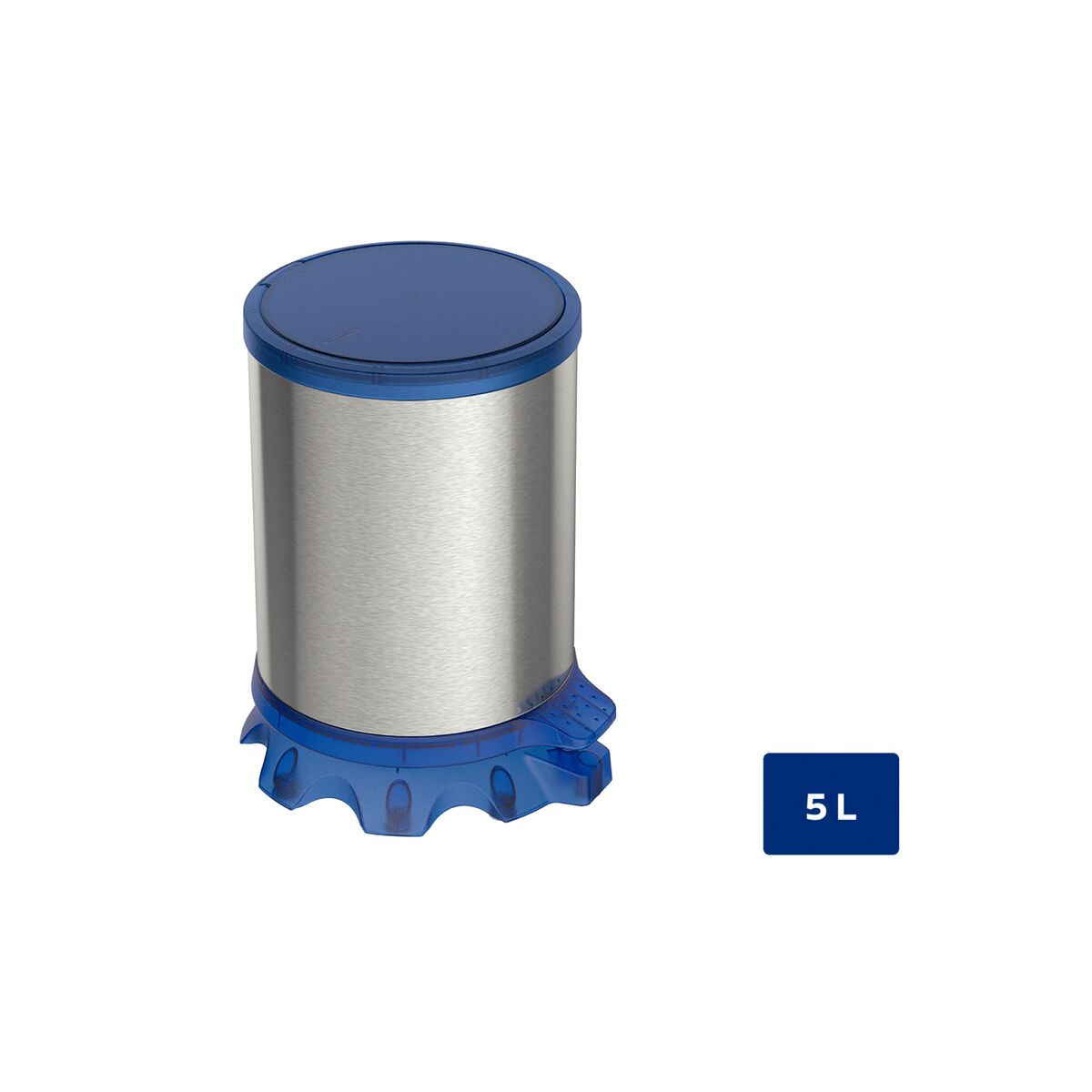 Tramontina Sofie stainless steel pedal trash can with Scotch Brite finish and transparent blue plastic detailing, 5 L