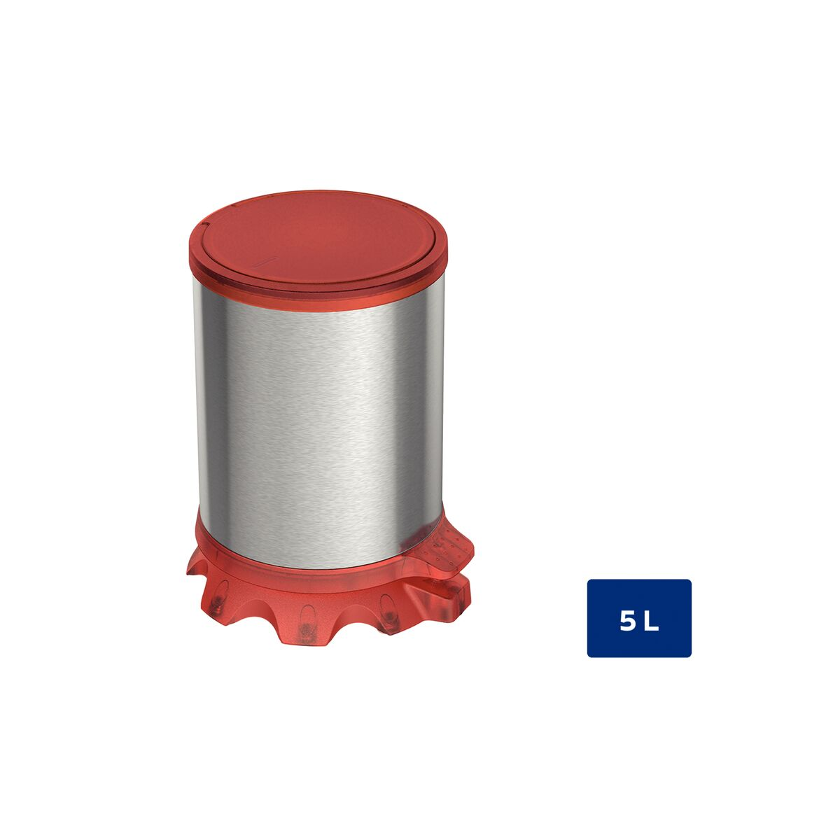 Tramontina Sofie stainless steel pedal trash can with Scotch Brite finish and transparent Red plastic detailing, 5 L