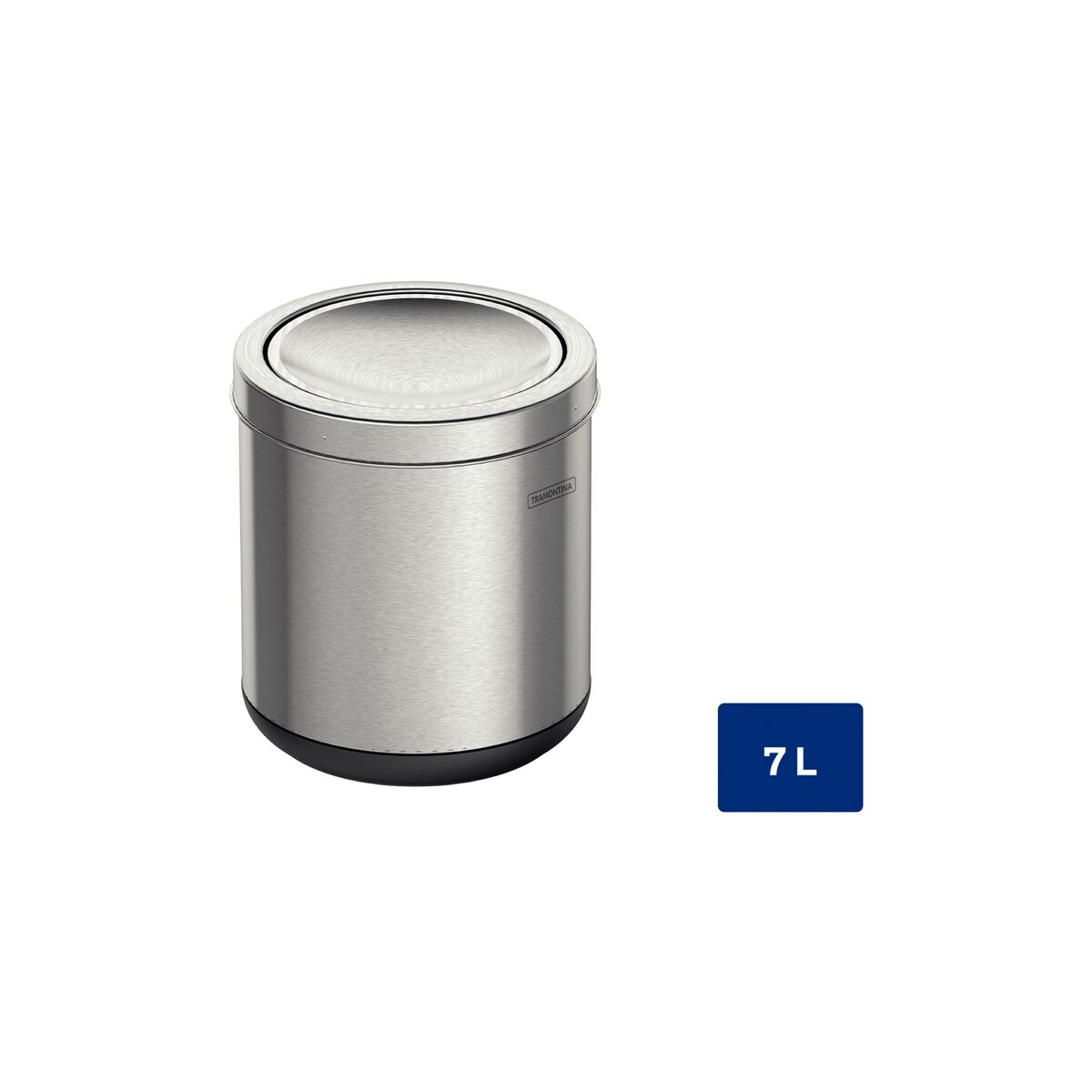 Basurero de acero inoxidable Tramontina con terminación pulida con tapa de vaivén, base de polipropileno y 7 l de capacidad.