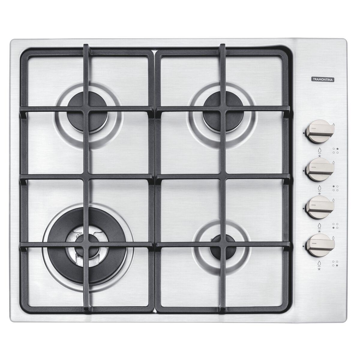 Placa de cocción Tramontina en acero inoxidable con encedido superautomático y 4 quemadores