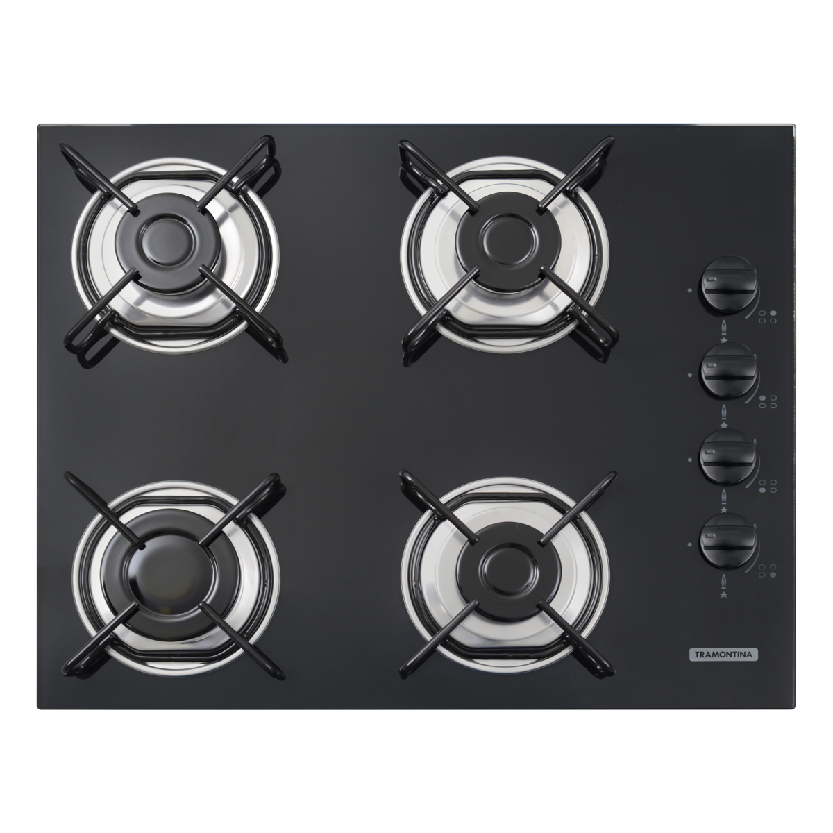 Tramontina Gas Cooktop In Black Tempered Glass With Carbon Steel Trivets Super Automatic Switch On And 4 Burners Tramontina