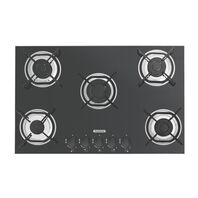 Tramontina gas cooktop in black tempered glass with carbon steel trivets, auto ignition, and 5 burners