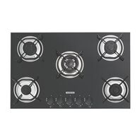 Tramontina gas cooktop in black tempered glass with carbon steel trivets, super Automatic switch-on and 5 burners