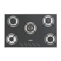 Tramontina gas cooktop in black tempered glass with carbon steel trivets, auto spark and 5 burners