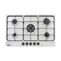 Tramontina stainless steel gas cooktop with carbon steel trivets, auto ignition and 5 burners