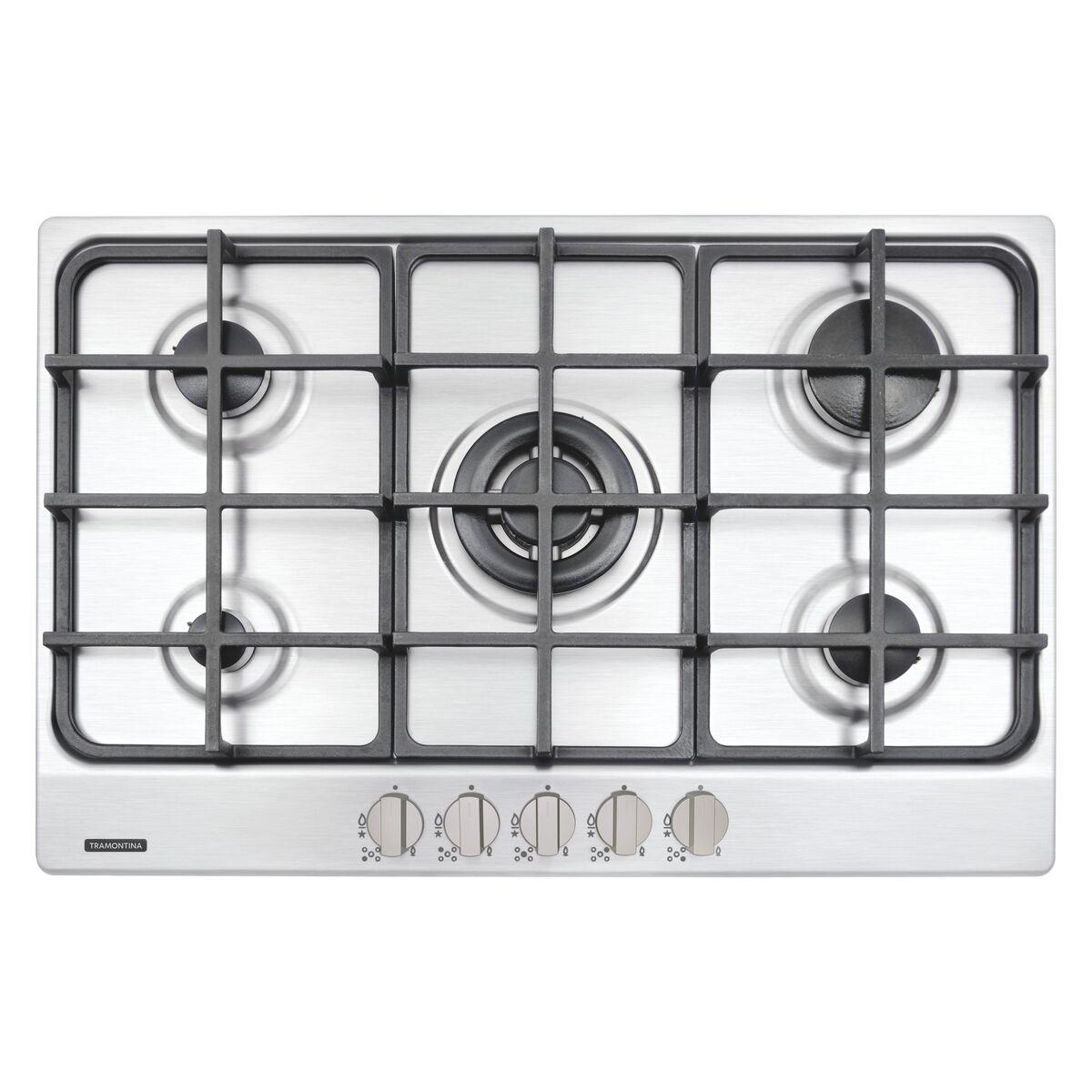 Placa de cocción NEW PENTA 5GX  en acero inoxidable con 5 quemadores Tramontina