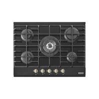 Aluminum + tempered glass hob with 5 burners