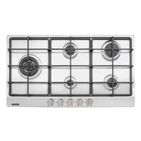 Tramontina stainless steel gas cooktop with 5 burners and cast iron trivets