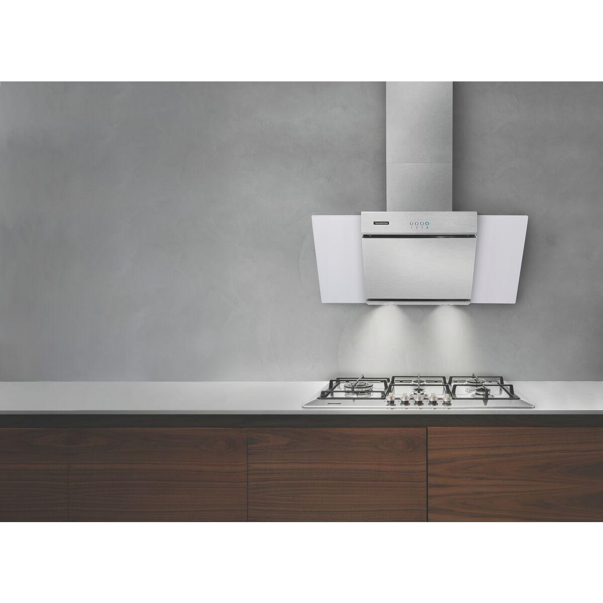 Campana de pared Tramontina de acero inoxidable y vidrio templado blanco a99e991f03dc