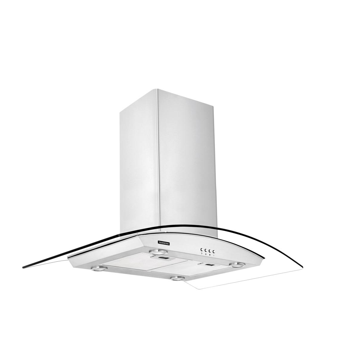 Tramontina - Campana de isla 90 cm en acero inoxidable + vidrio 127 V