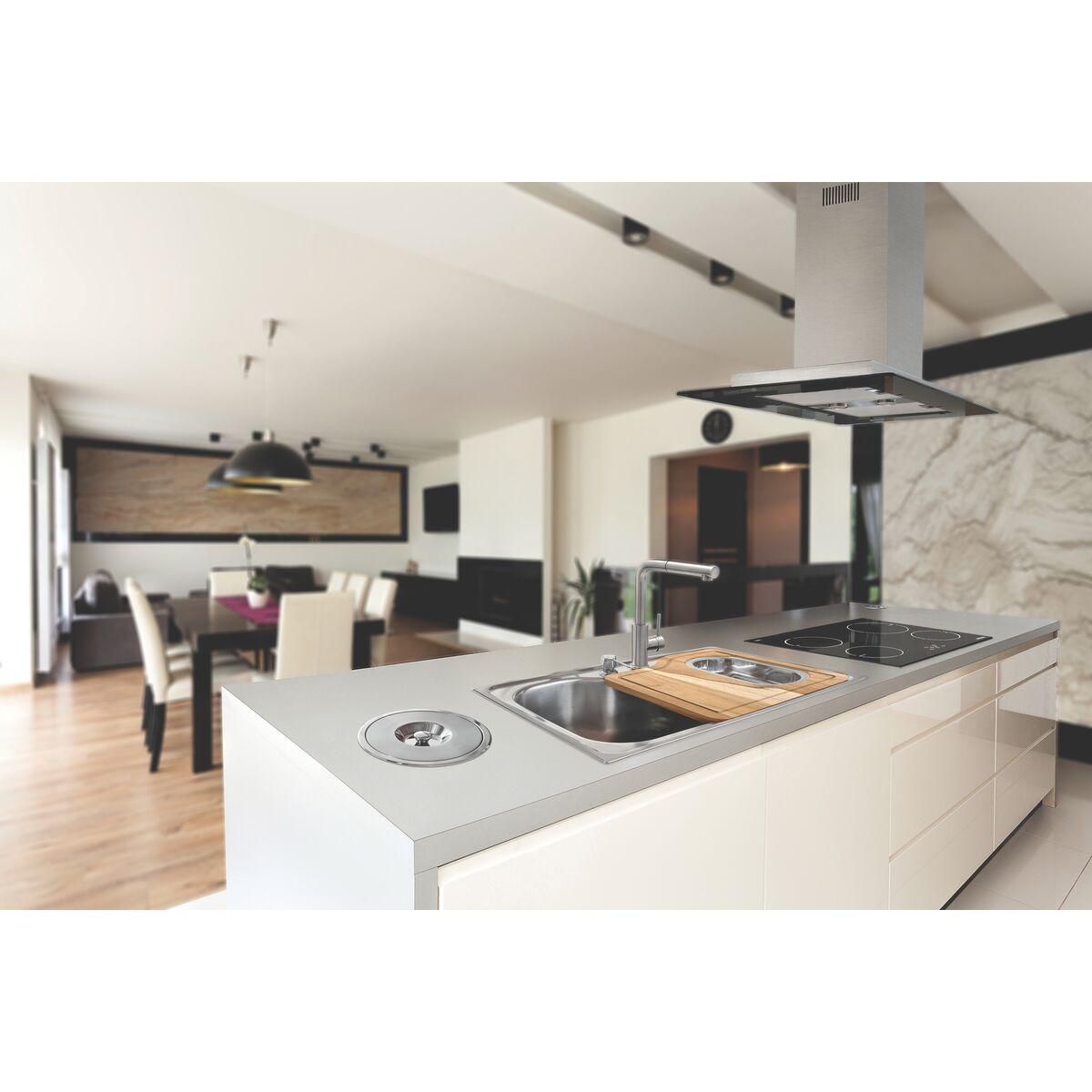 Tramontina - Campana de isla 90 cm en acero inoxidable + vidrio ...