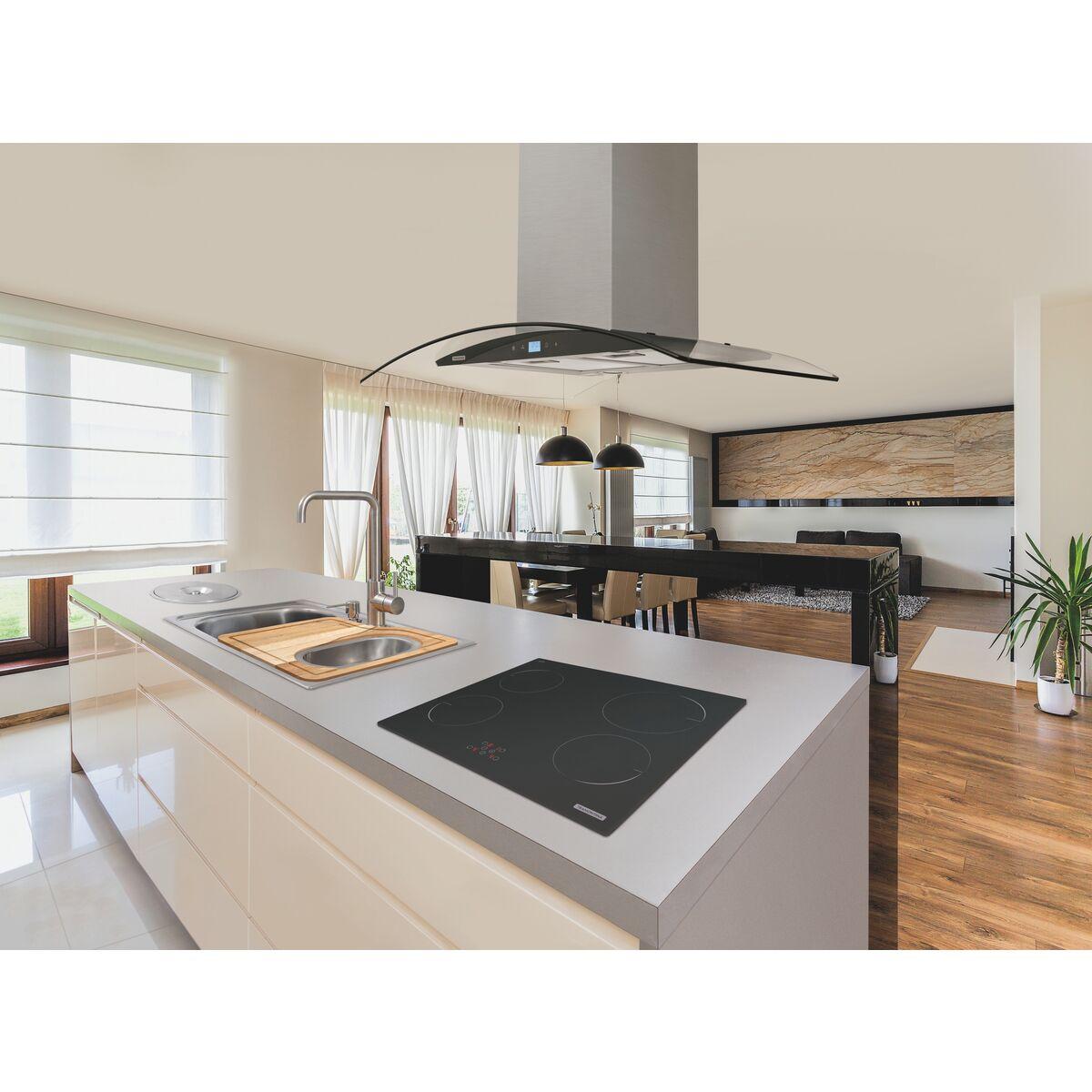 Tramontina - Campana de isla 90 cm en acero inoxidable + vidrio 220 V